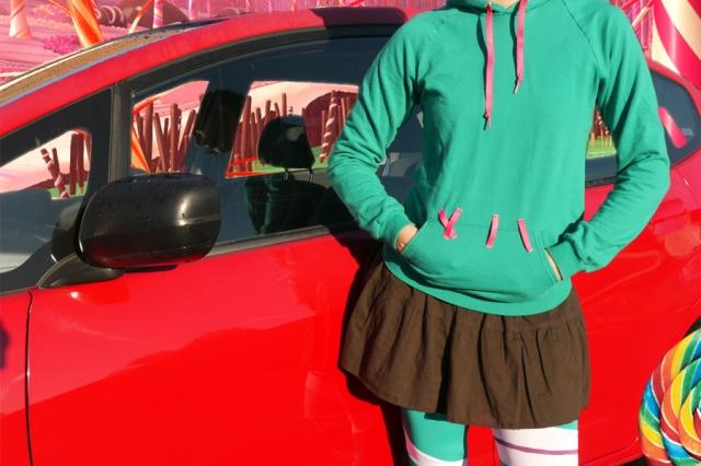 thrifted-Vanellope-Von-Schweetz-costume-cosplay-sweatshirt-skirt
