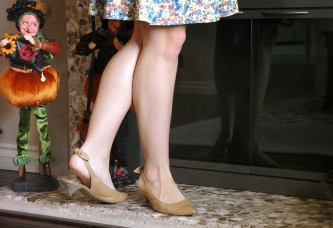 Thanksgiving-eShakti-floral-dress-nude-kitten-heels-bows