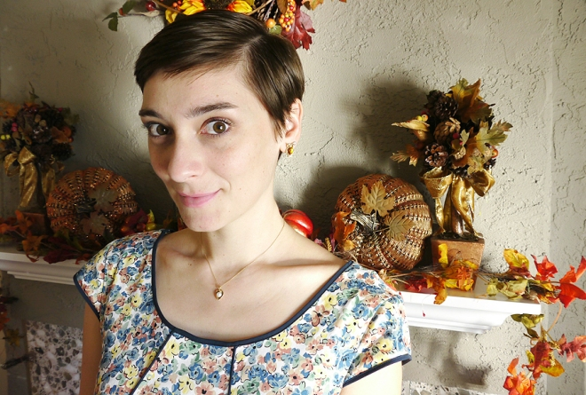 Thanksgiving-eShakti-floral-dress-vintage-jewelry
